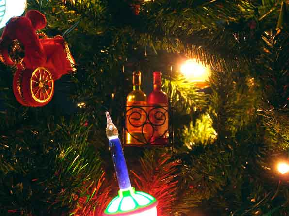 Wine bottle ornament on tree