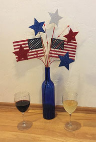 Red White and Blue wine and bottle with flags