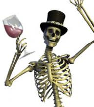 Halloween Wine skeleton
